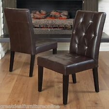 Set of 2 Contemporary Brown Leather Dining Chair w/ Tufted Accent