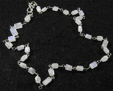 "RAINBOW MOONSTONE Faceted Rectangle Crystal Gemstone NECKLACE 17"" Silver Plated"