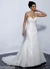 MAGGIE SOTERRO MIDGELY NEW 12 LT IVORY TAFFETA JEWELED NECKLINE WEDDING DRESS