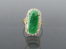 Vintage 14K Solid YG Natural Green Jadeite Jade White Topaz Saddle Ring Size 7.5