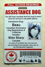 CANADIAN ADI LAWS SERVICE DOG / PET ID CARD BADGE ID FOR SERVICE ANIMAL TAG 23