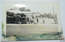 RARE Original Vintage 1940's Photograph Photo Truck Accident Gas Station Big Rig