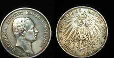 saxe 3 Mark 1909 E Argent Friedrich August III 1904 - 1918 Piece Argent