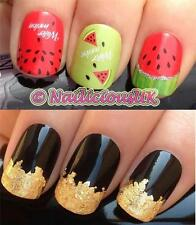 NAIL ART SET #2. WATERMELON WATER NAIL TRANSFERS/DECALS/STICKERS & GOLD LEAF