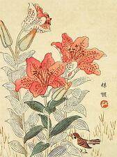 NATURE BIRD FLOWER SPARROW JAPAN KONO BAIREI POSTER ART PRINT BB92A