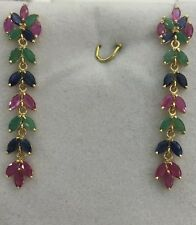 14k Solid Yellow Gold Dangle Stud Earrings Natural Mixed Ruby Sapphire Emerald