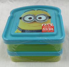 """MINIONS """" DESPICABLE ME """" KIDS BREAD SHAPED LUNCH CONTAINERS x 2"""