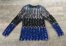 VTG 80 90s Sequin Beaded Glam BoHo Hippi Rocker Trophy Disco Dress Up Top Shirt