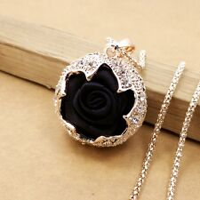Gold-plated Mosaic crystal Black Rose chain Fashion charm long necklace LL503