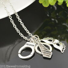 AZ 1PC 50 Shades of Grey Silver Freedom Handcuffs Mask Tie Necklace Retro