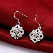 Women Fashion Jewelry 925 Sterling Silver Plated Flower Dangle Hook Earrings New