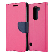 For LG Treasure Tracfone HOT PINK Leather Case Magnetic Card Wallet Pouch Folio