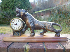 Rare Vintage Electric Sessions Model W Tiger Shelf Mantel Clock Wood Base Works!