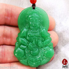 Chinese Green Guanyin Female Buddha jade pendant necklace US SELLER