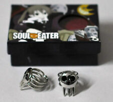 Hot 1 Pair Cosplay Ring Soul Eater Death The Kid Cosplay 2 Rings Set Silver