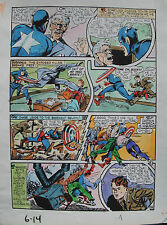 JACK KIRBY Joe Simon CAPTAIN AMERICA #6 pg 14 HAND COLORED ART Theakston 1989