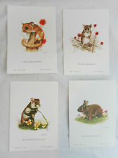 Set of Four Small Animal Prints  - Ready to Frame -  Joel Kirk - NEW
