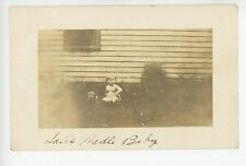 """Wadle Baby"" Pudgy Toddler in Diaper w Cute Puppy RPPC Antique Photo 1910s"