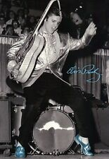 Elvis Presley Dancing on Stage with Guitar in His Blue Suede Shoes --- Postcard