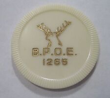 OLD POKER CHIP BPOE ELKS CLUB LODGE 1265 DONORA PA WHITE TOKEN VINTAGE AUTHENTIC