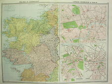 1920 LARGE MAP ~ IRELAND CONNAUGHT GALWAY MAYO ~ CENTRAL LONDON EDINBURGH DUBLIN