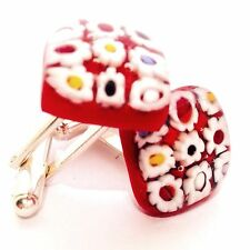 Red Daisy Flower Square Glass & Silver Murano Millefiori Cufflinks.