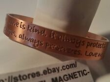 LOVE IS PATIENT, LOVE IS KIND COPPER CUFF BANGLE MAGNETIC HEALING ** USA SELLER