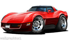 1980- 82 Corvette L-82 with 2 Tone Paint Wall Graphic Vinyl Decal Home Decor NEW