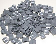 LEGO 100 DARK BLUISH GREY 1 X 2 MODIFIED LOG BRICKS WESTERN FORT WALL PIECES