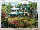 Cross stitch garden house beautiful finished completed hot sale