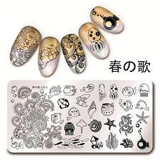 Harunouta 12*6cm Nagel Kunst Stamping Schablone Platte See Fisch Design L013