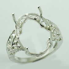 Oval Shape Ring In Semi Mount 13.3x18.3 MM 925 Silver Anniversary Woman Jewelry