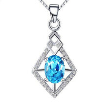 Women's 925 Sterling Silver Blue Crystal Pendant Necklace Chain Fashion Jewelry