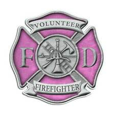 Volunteer Firefighter Maltese Cross Sticker - Pink Girl Decal