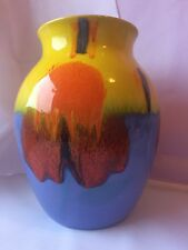 "Rare Colourway Poole Pottery Large Vase 8"" - Orange/Blue/Yellow"