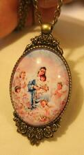 Striking Floral Frame Brasstn Pasteled Mary & Angels Glass Cameo Medal Necklace