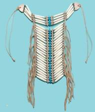 MED NATIVE INDIAN STYLE BONE BREAST CHEST PLATE  blue turquoise beads LEATHER