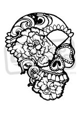 A7 'Floral Skull' Unmounted Rubber Stamp (SP001979)