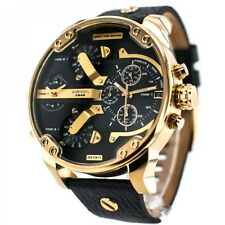 DIESEL Mr. Daddy 2.0 Black Dial Oversized Gold Men's Chronograph Watch DZ7371