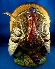 "FITZ & FLOYD ""Autumn Bounty "" Large Turkey Tureen/Centerpiece w/Ladle Estate ISW"