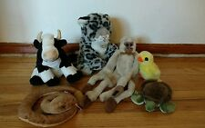 Lot 6 Wild Republic plusb K&M International Doll Monkey Snake Turtle Cow Chicken