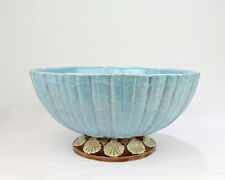 Rare Antique English Majolica Punch Bowl w Clam Shell Foot - likely Holdcroft PC