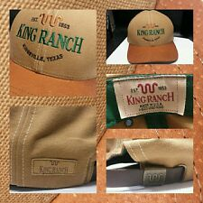 Mint Vtg Signed King Ranch Kingsville Texas Leather Strapback Baseball HatCapUSA