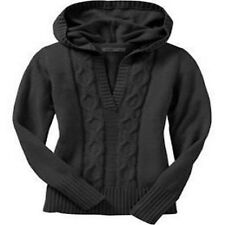 OLD NAVY Black Deep V Hoodie Cable Tunic Sweater S NWT NEW FREE SHIP