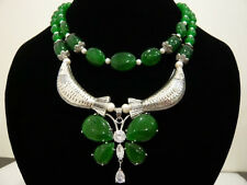 """2Strands White Akoya Cultured Pearl&Emerald&Crystal Necklace 17""""-18"""""""