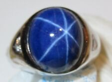 Vintage Solid 14k White Gold Big Star Blue Sapphire Diamond Mens Ring
