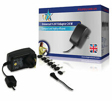 Universal AC Power Adapter 9 – 24 V Output 24W 6 Exchangeable Power Tips UK Plug