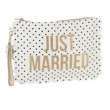 Pois de mariage/pochette de toilette sac avec dragonne-just married