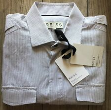 BNWT Reiss luxury designer cotton striped long sleeve shirt in Large size.