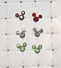 Sterling Silver Crystal *Disney Mickey*stud 3-pair*Beautiful* set earrings LOOK!